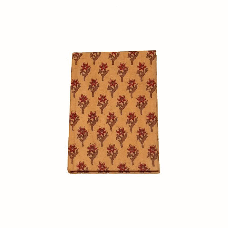 A5 Blank Notebook Covered With Beige Cloth With Red Print Fabric – Zero Waste Kind Shop
