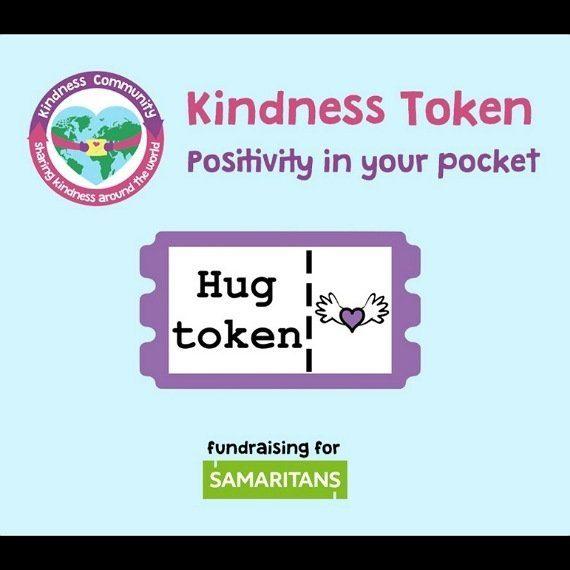 Kindness tokens. Fundraising for Samaritans. Send hugs smiles love Kind Shop