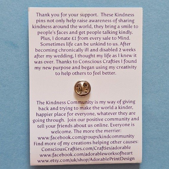 Look for rainbows after the rain metal lapel pin badge. Fundraising for Mind and Kindness Community. Kind Shop 2
