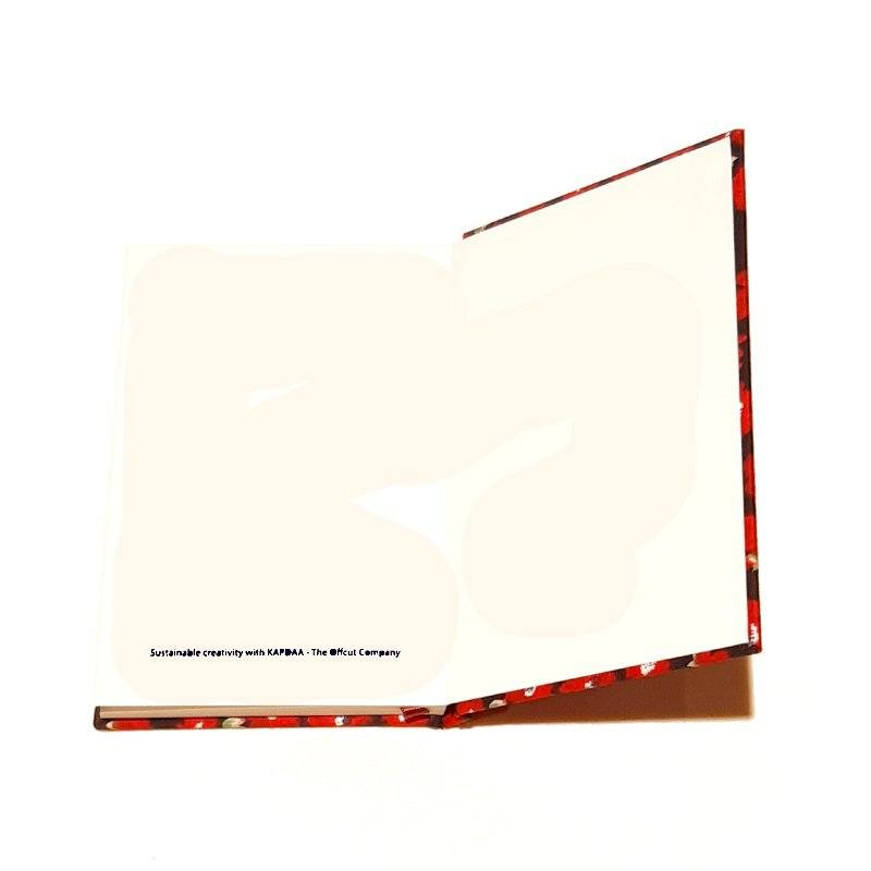 A5 Blank Notebook Covered With Red Flowers Fabric – Zero Waste Kind Shop 4
