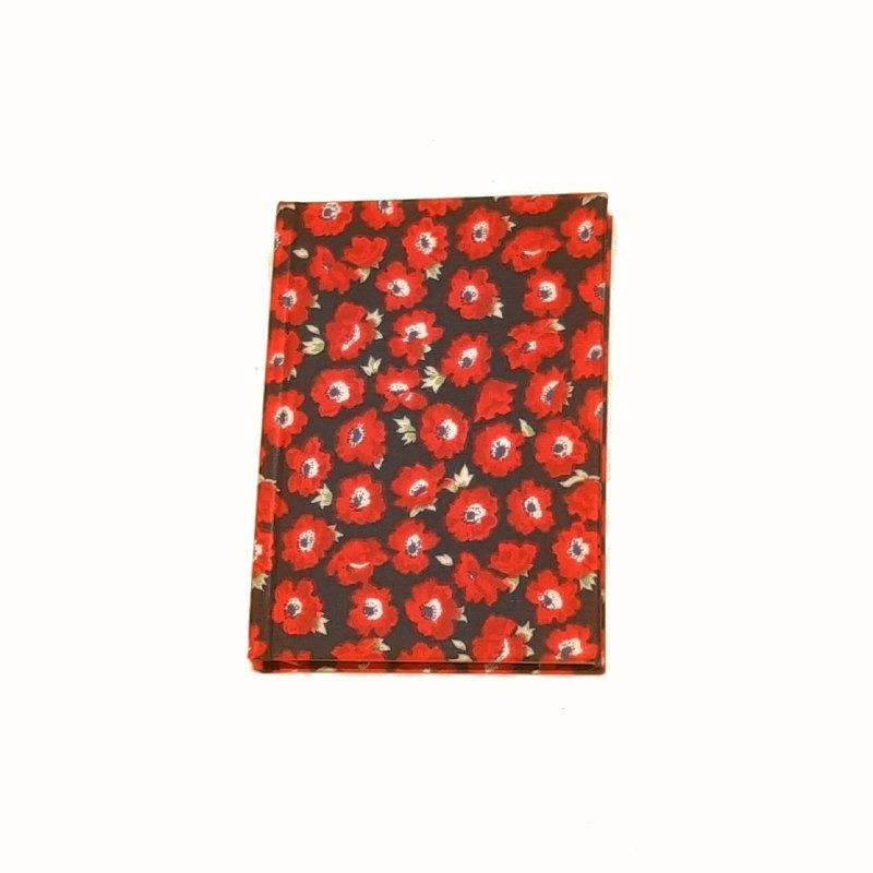 A5 Blank Notebook Covered With Red Flowers Fabric – Zero Waste Kind Shop