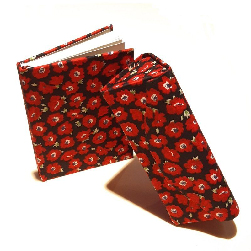A5 Blank Notebook Covered With Red Flowers Fabric – Zero Waste Kind Shop 3