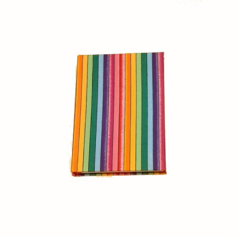 A5 Blank Notebook Covered With Rainbow Stripe Fabric – Zero Waste Kind Shop