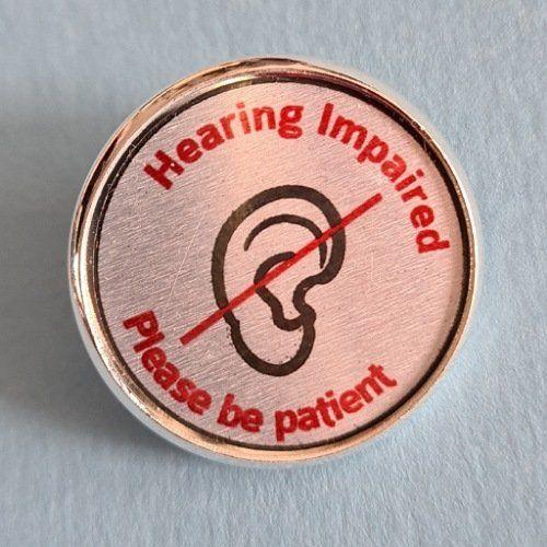 Badge for hearing impaired deaf lip reader, special needs pin badges Kind Shop