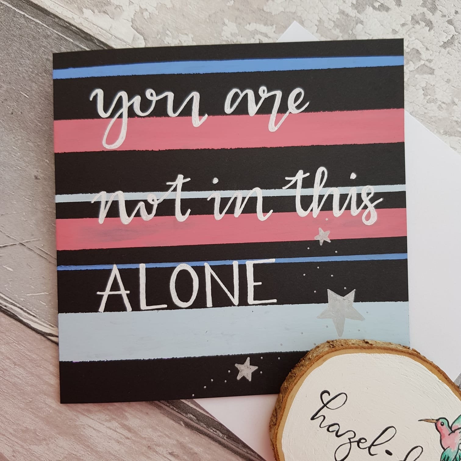 'You Are Not Alone' Card for Friendship, Motivation, Support – Hand Drawn Kind Shop 3