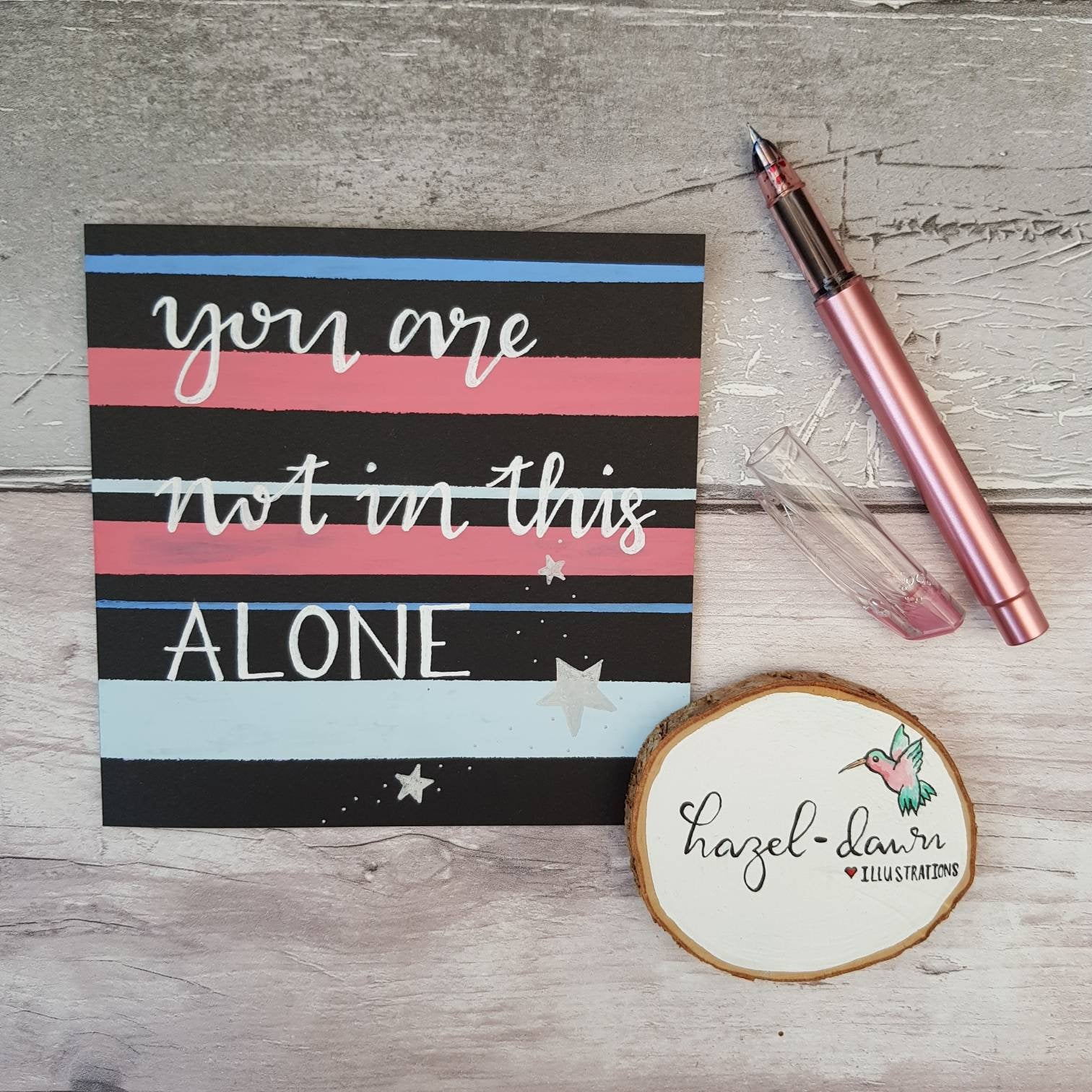 'You Are Not Alone' Card for Friendship, Motivation, Support – Hand Drawn Kind Shop 2