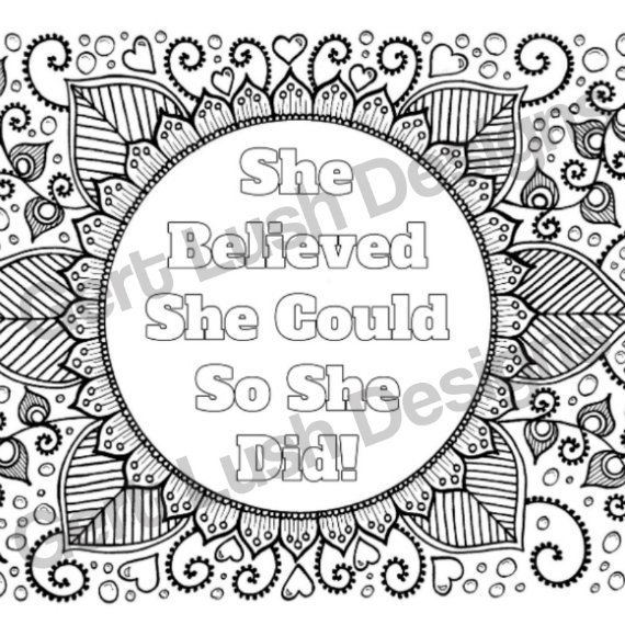Positive Mindful Colouring Sheet Artwork Poster Print With Motivational Quote – She Believed She Could Kind Shop 2