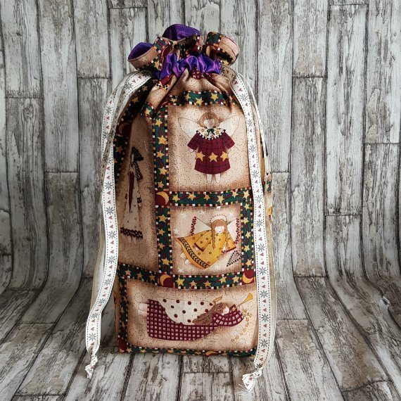 Angels Eco-Friendly Fully Lined Reusable Christmas Gift Bag Kind Shop