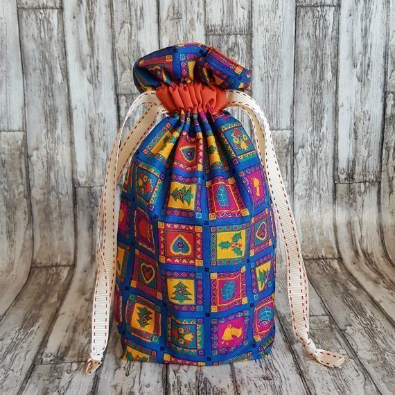 Bright Funky Christmas Print Eco-Friendly Fully Lined Reusable Christmas Gift Bag Kind Shop