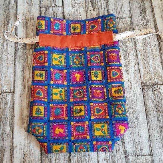 Bright Funky Christmas Print Eco-Friendly Fully Lined Reusable Christmas Gift Bag Kind Shop 4