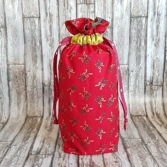 Red And Gold Bows Eco-Friendly Fully Lined Reusable Christmas Gift Bag Kind Shop
