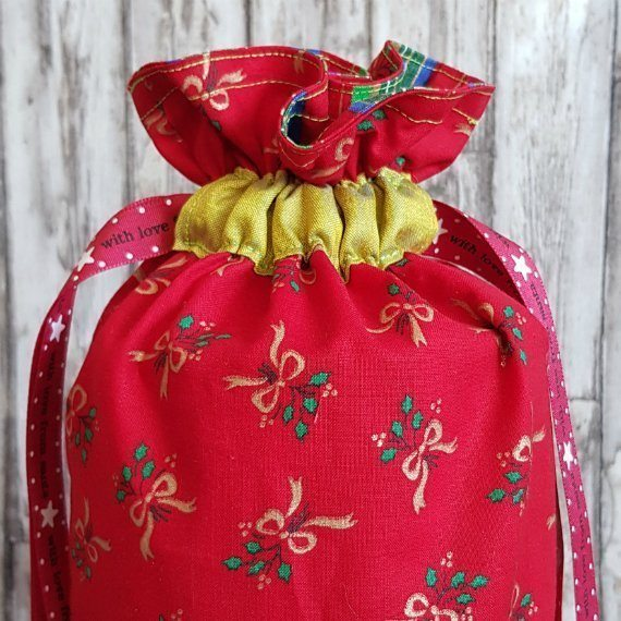 Red And Gold Bows Eco-Friendly Fully Lined Reusable Christmas Gift Bag Kind Shop 3