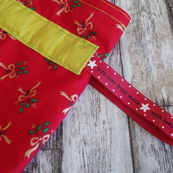 Red And Gold Bows Eco-Friendly Fully Lined Reusable Christmas Gift Bag Kind Shop 7