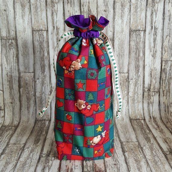 Christmas Teddy Bears Eco-Friendly Fully Lined Reusable Christmas Gift Bag Kind Shop