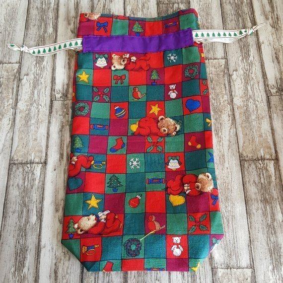Christmas Teddy Bears Eco-Friendly Fully Lined Reusable Christmas Gift Bag Kind Shop 4
