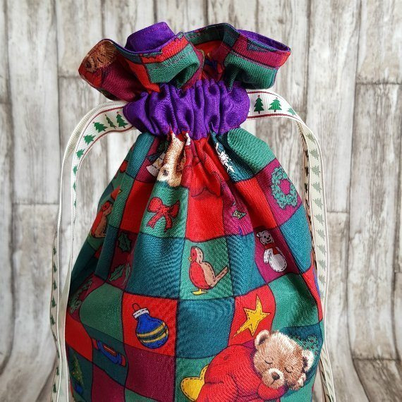 Christmas Teddy Bears Eco-Friendly Fully Lined Reusable Christmas Gift Bag Kind Shop 3