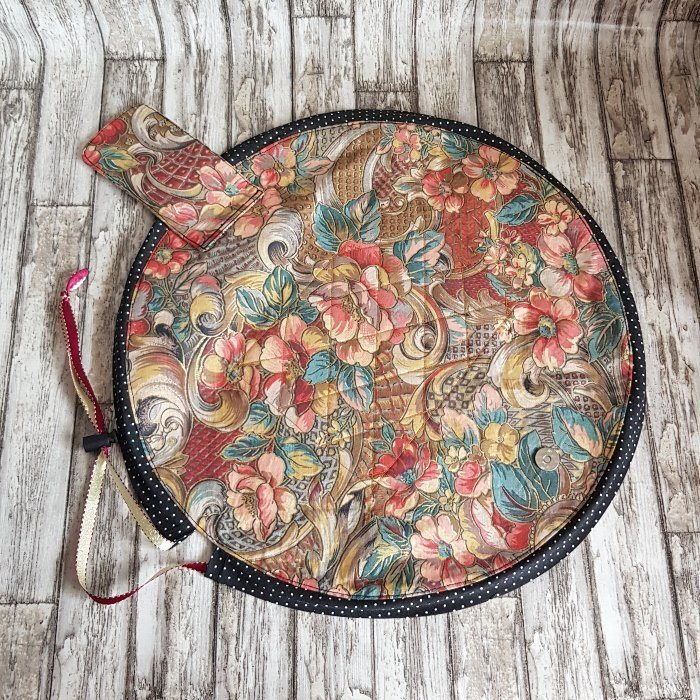 Copper Floral Flat Lay Fold Out Round Cotton Drawstring Bag For Cosmetics, Make Up, Toys, Craft Tools Kind Shop 2