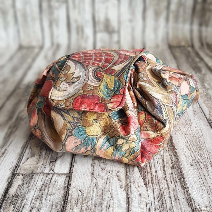 Copper Floral Flat Lay Fold Out Round Cotton Drawstring Bag For Cosmetics, Make Up, Toys, Craft Tools Kind Shop 8