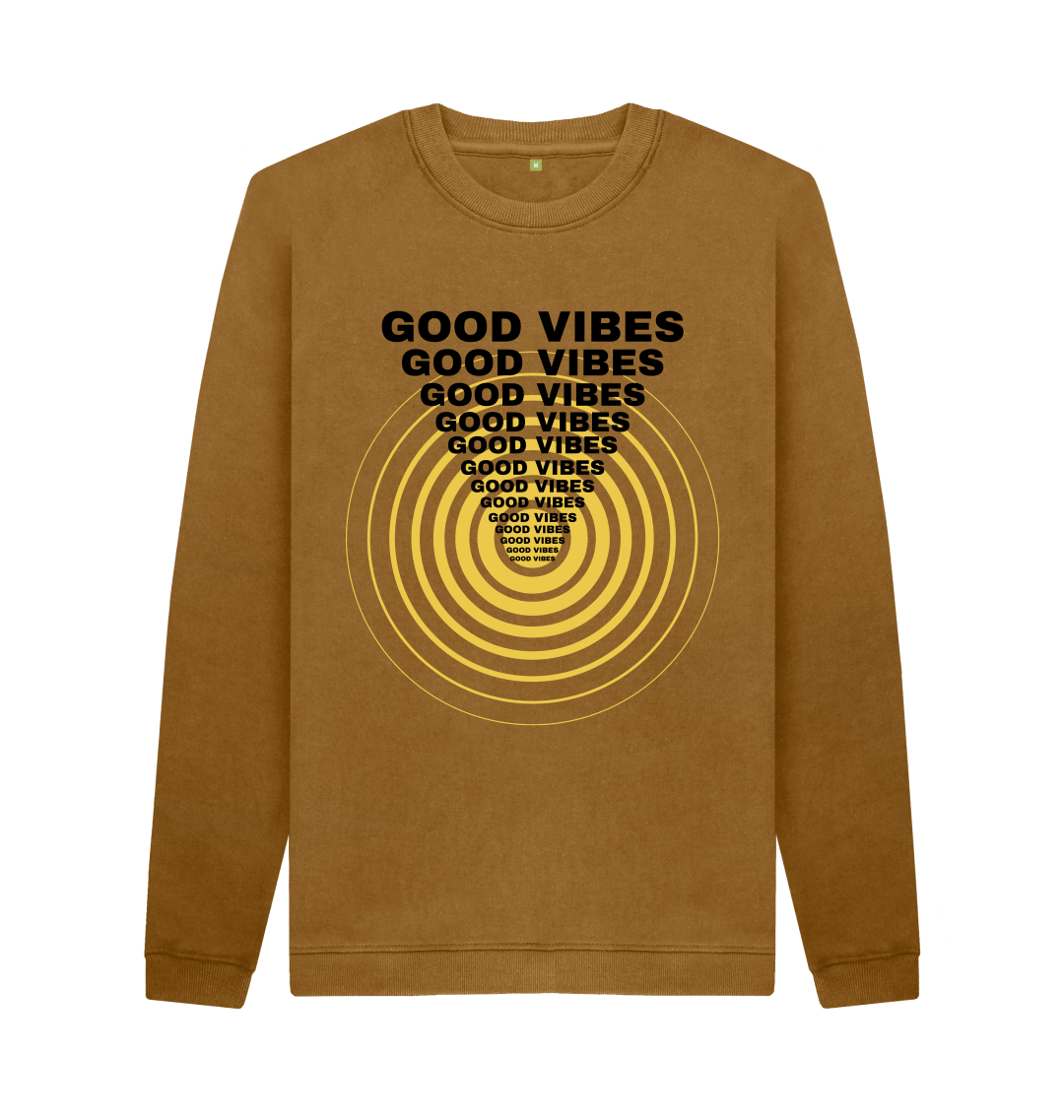 Send out nothing but good vibrations with our totally rad 'Good Vibes' Men's Crew Neck Sweater - perfect for the colder weather. All our products are sustainable, plastic-free, Earth-friendly, Vegan-friendly, Cruelty-free, ethical. Made in a renewable energy powered factory using 100% Certified Organic Cotton! What's best - our products are CIRCULAR, which means it can be returned to us once outworn to be made into new products, keeping it out of landfill! So you can rest assured you're purchase with us is truly KIND to Earth!
