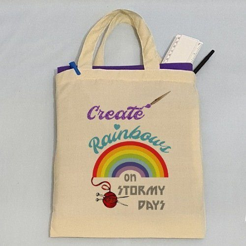 Recycled Reusable Shopping Bag With Positive Quote – 'Create Rainbows on Stormy Days' Kind Shop