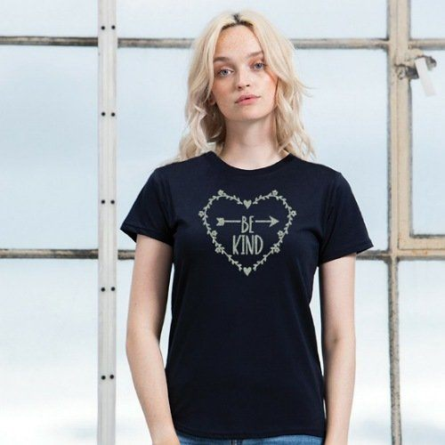 Be Kind Heart T Shirt Top Black Silver