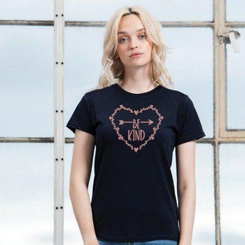 Be Kind Heart T Shirt Top Black Rose Gold