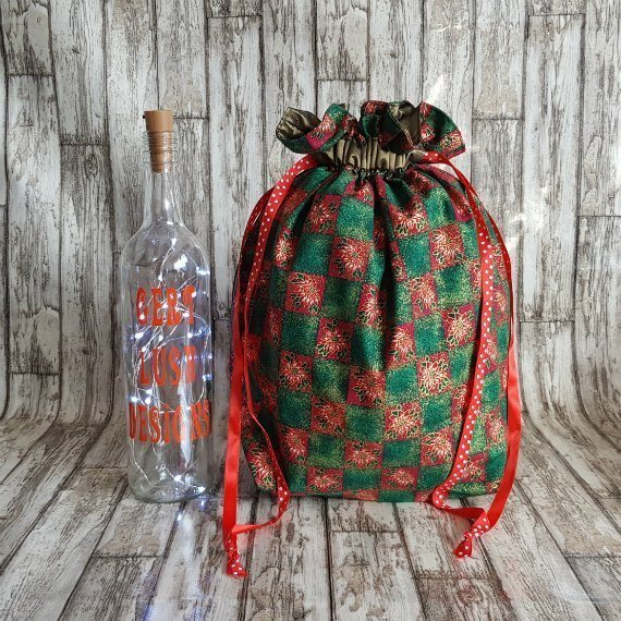 Poinsettia Print Large Eco-Friendly Fully Lined Reusable Christmas Gift Bag Kind Shop 2