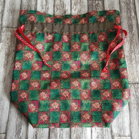 Poinsettia Print Large Eco-Friendly Fully Lined Reusable Christmas Gift Bag Kind Shop 3