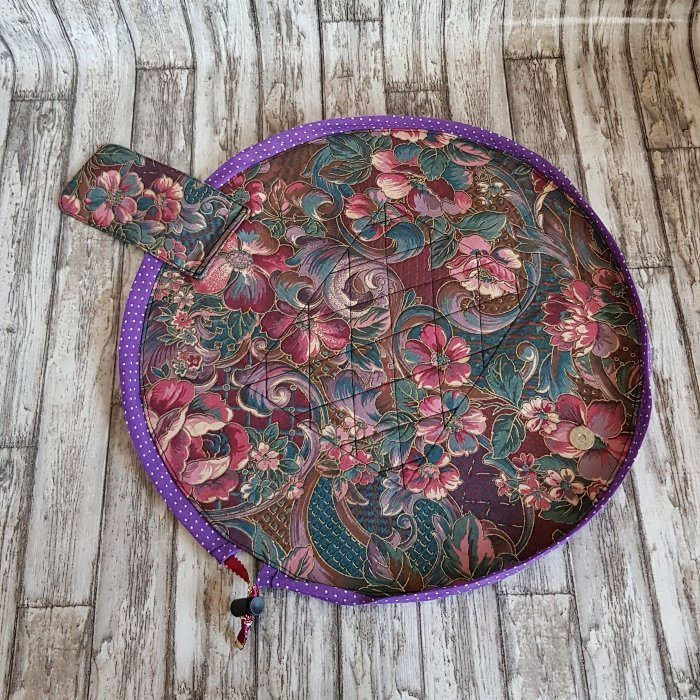 Purple Floral Flat Lay Fold Out Round Cotton Drawstring Bag For Cosmetics, Make Up, Toys, Craft Tools Kind Shop 2