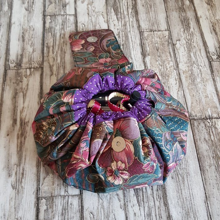 Purple Floral Flat Lay Fold Out Round Cotton Drawstring Bag For Cosmetics, Make Up, Toys, Craft Tools Kind Shop 6