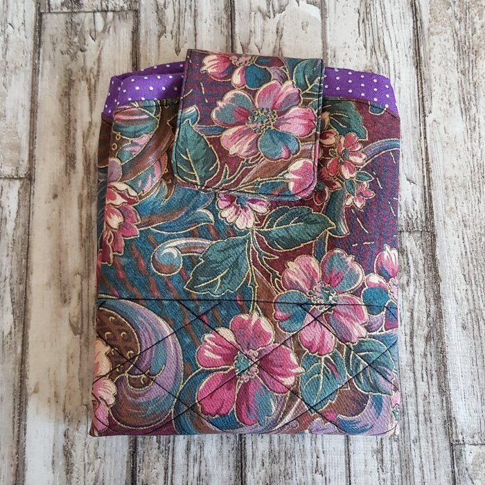 Purple Floral Flat Lay Fold Out Round Cotton Drawstring Bag For Cosmetics, Make Up, Toys, Craft Tools Kind Shop 8