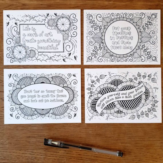 Set Of 4 Colouring Postcards With Inspirational Positive Quote Set 1 Kind Shop