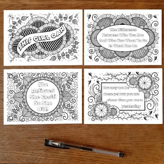Set Of 4 Colouring Postcards With Motivational Positive Quote Set 1 Kind Shop