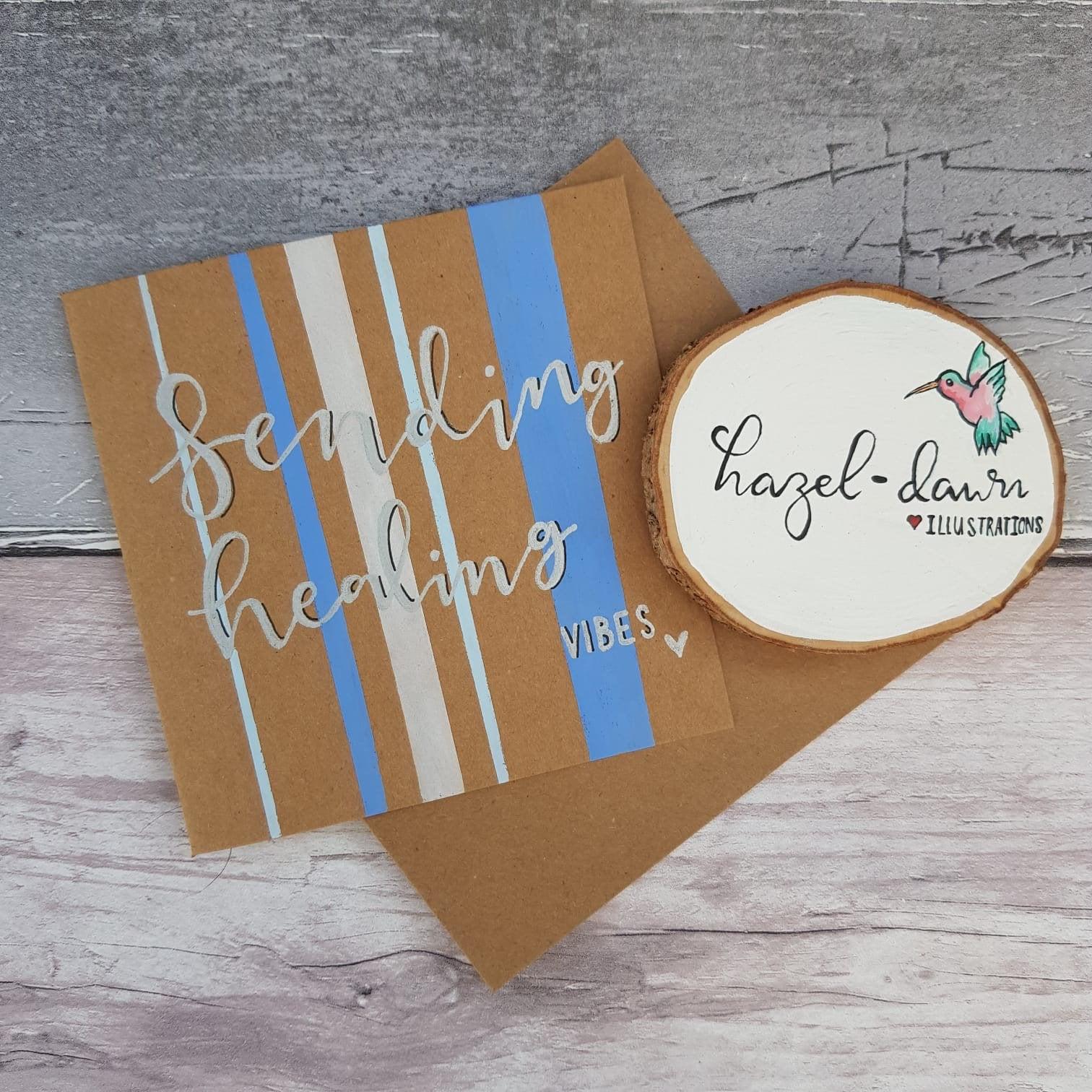 Sending Healing Vibes Card, Blank Card, Friendship, Motivation, Support – Handmade Kind Shop