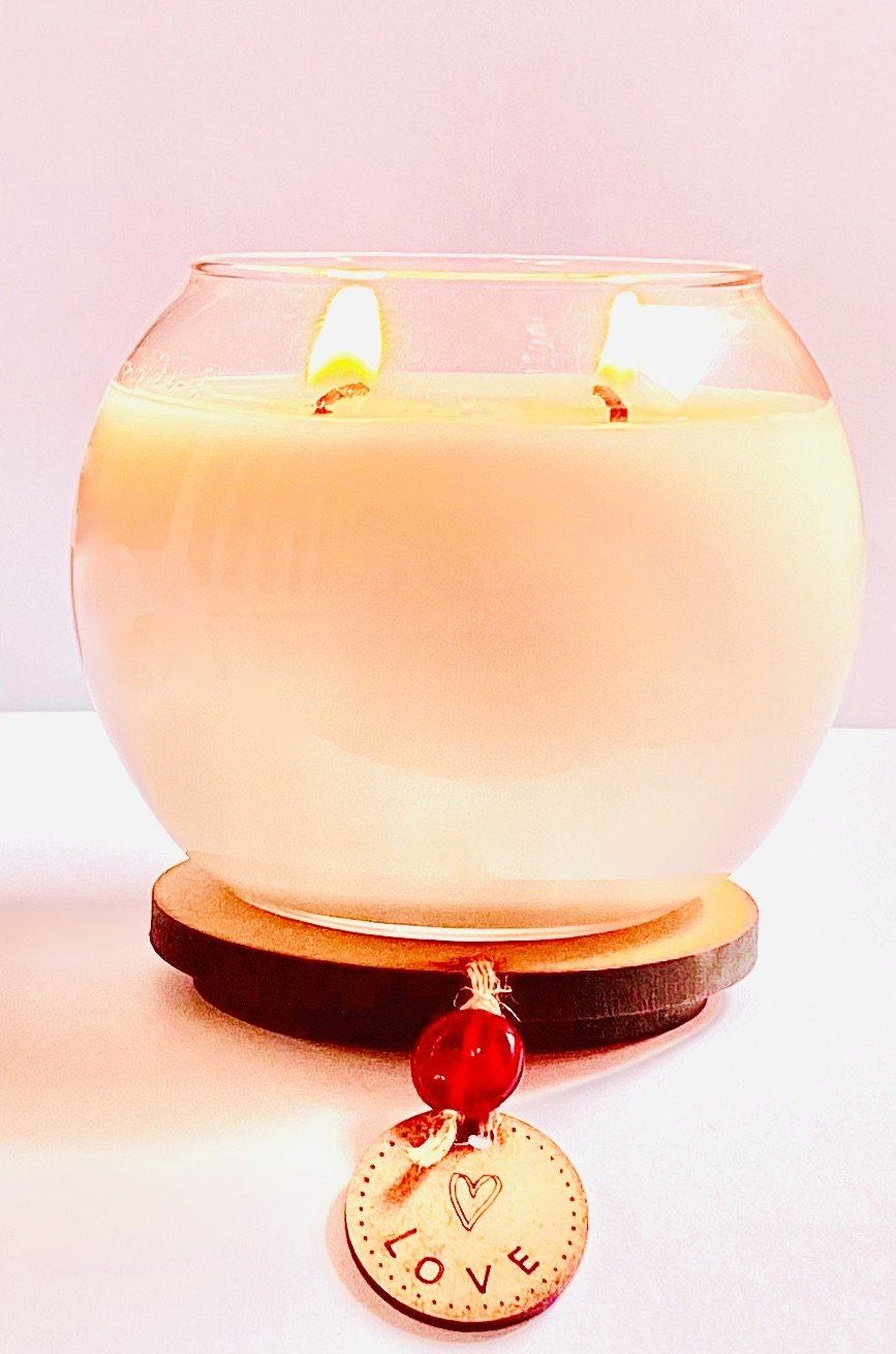 Vegan Soy Candle with Patchouli and Bergamot Essential Oils. Double Wick Bowl Kind Shop 2