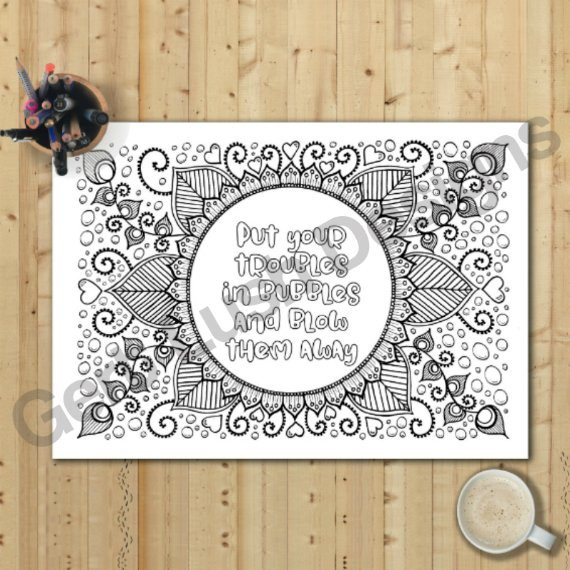 Positive Mindful Colouring Sheets With Inspirational Quotes – Saver Set Of Four A4 Sized Kind Shop 5