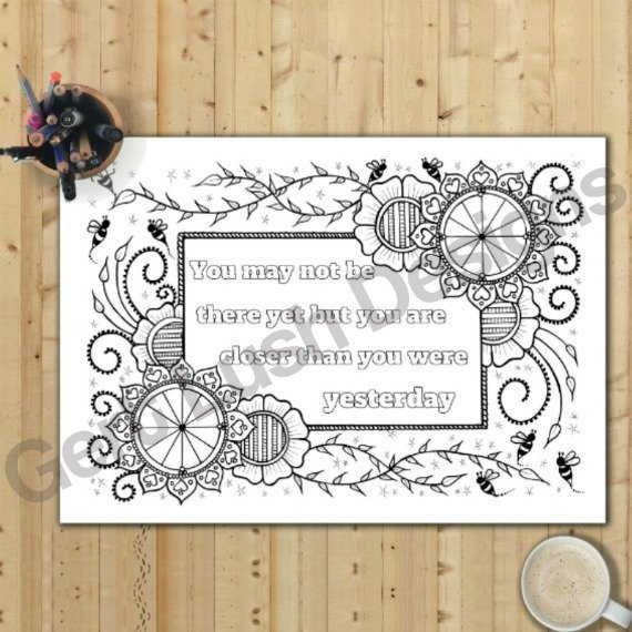 Positive Mindful Colouring Sheets With Motivational Quotes – Saver Set Of Four A4 Sized Kind Shop 5