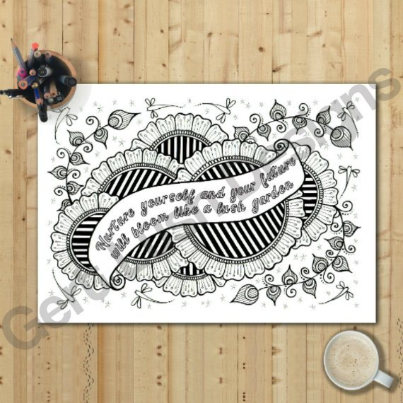 A4 Print At Home Positive Mindful Colouring Sheet With Inspirational Quote – Nurture Yourself Kind Shop