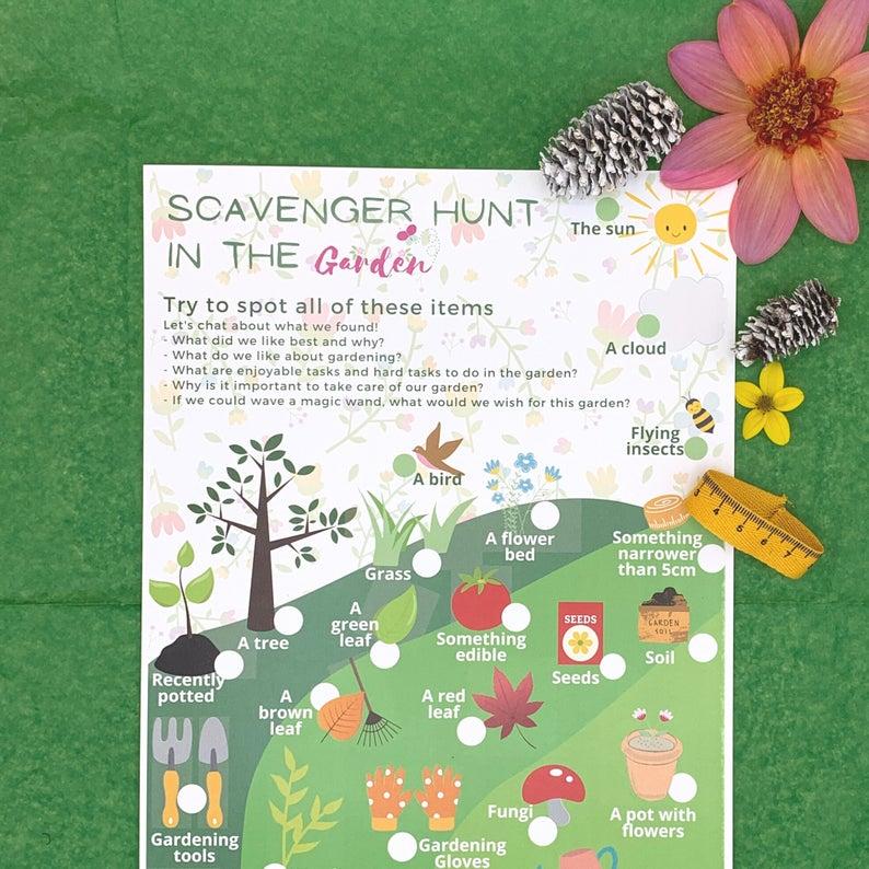 Activity Pack for Kids, Gardening Scavenger Hunt Games