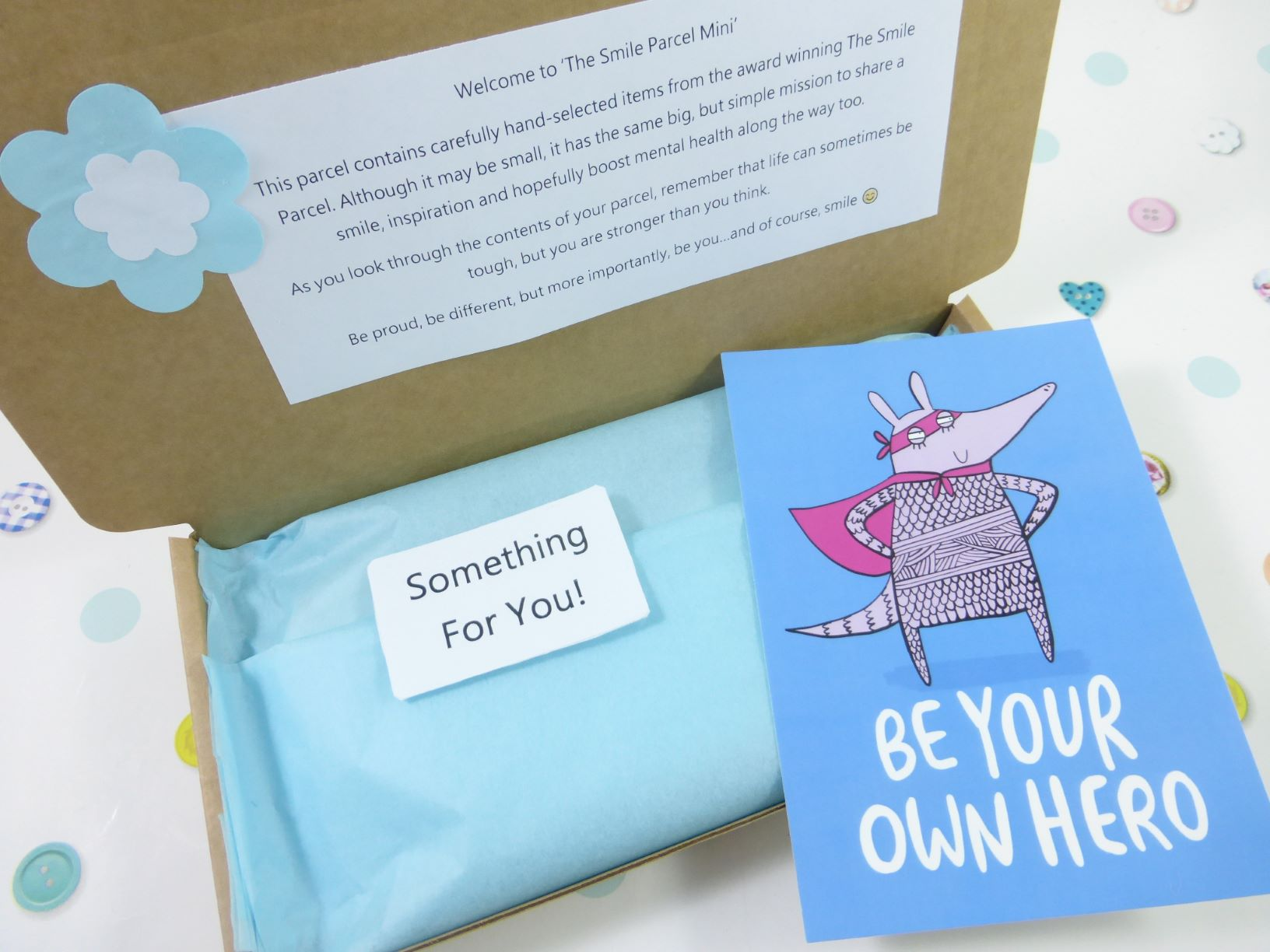 Blue Letterbox Friendly, Pick Me Up Gift, The Smile Parcel Mini, Self Care Box, Mental Health Gift, Happy Post, Wellbeing Gift Kind Shop 2
