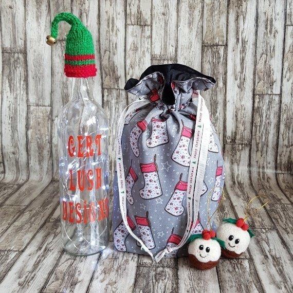Christmas Stockings Print Eco Friendly Fully Lined Reusable Christmas Gift Bag Kind Shop 2