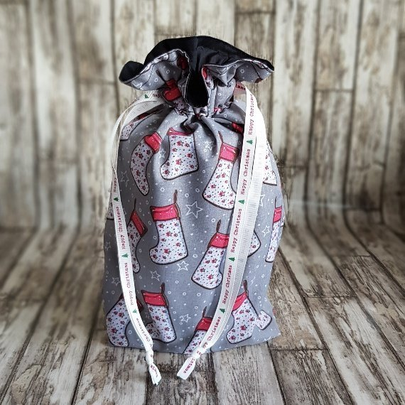 Christmas Stockings Print Eco Friendly Fully Lined Reusable Christmas Gift Bag Kind Shop 3