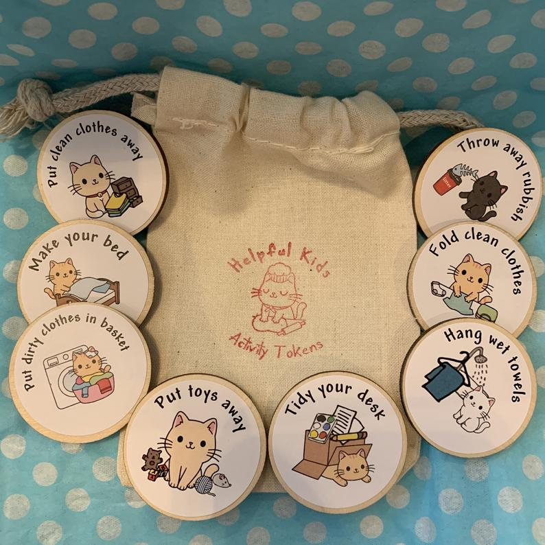 Eco Friendly Child Chore Tokens for Housework – Wooden Magnets To Encourage Routine Kind Shop 7