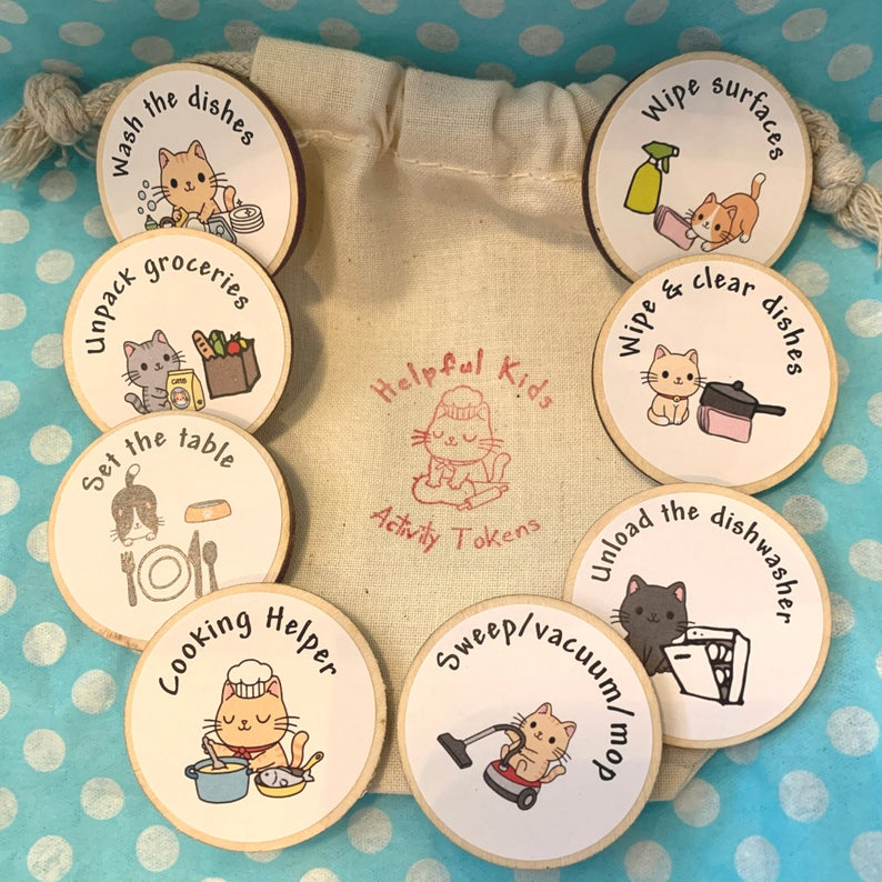 Eco Friendly Child Tidy Kitchen Chore Tokens Little Bag