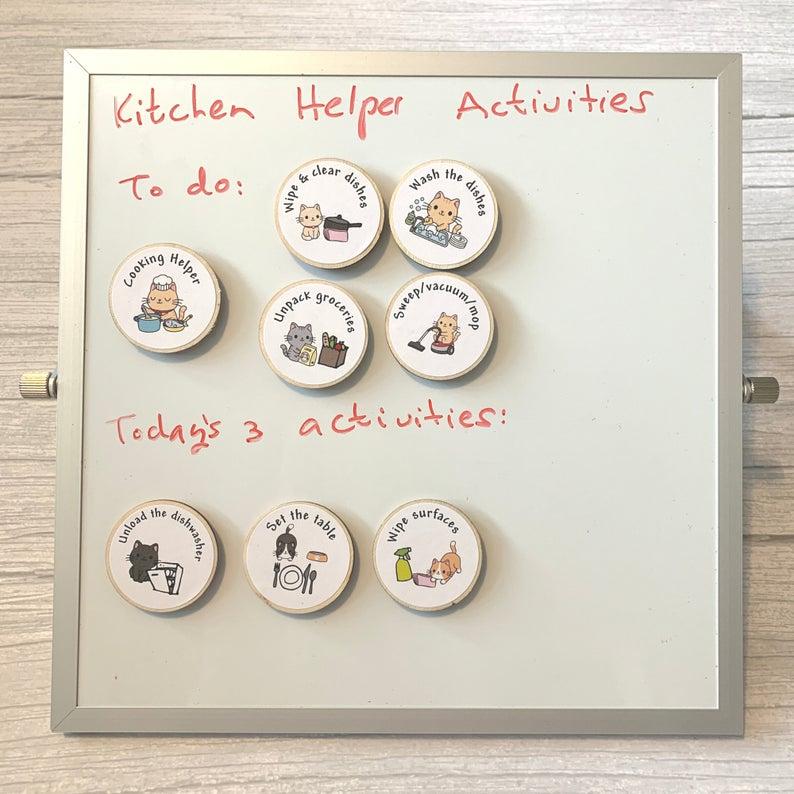 Eco Friendly Child Tidy Kitchen Chore Tokens White Board