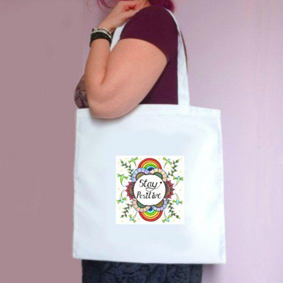 Eco-Friendly Reusable Fabric Tote Bag – Stay Positive Artwork Kind Shop