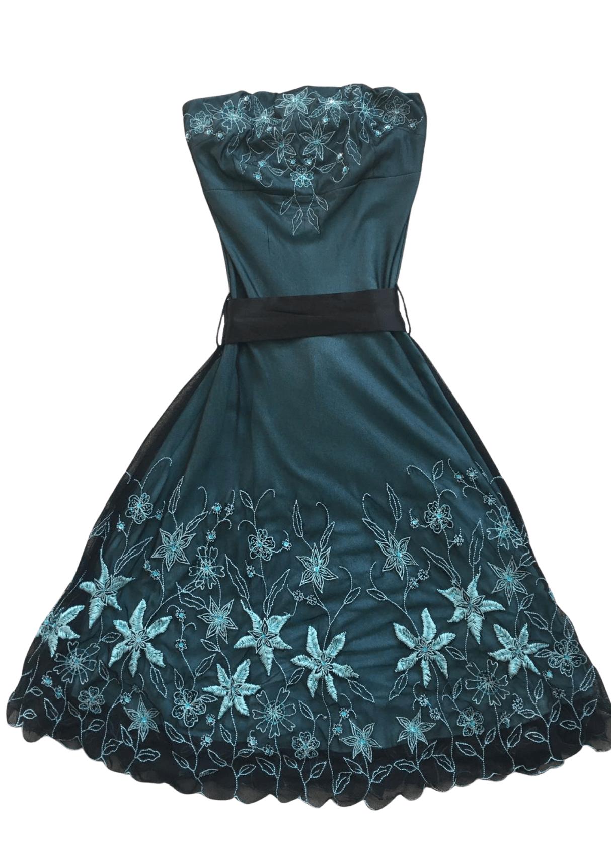 Pre-Loved Strapless Dress Black & Teal – Size 4 Kind Shop