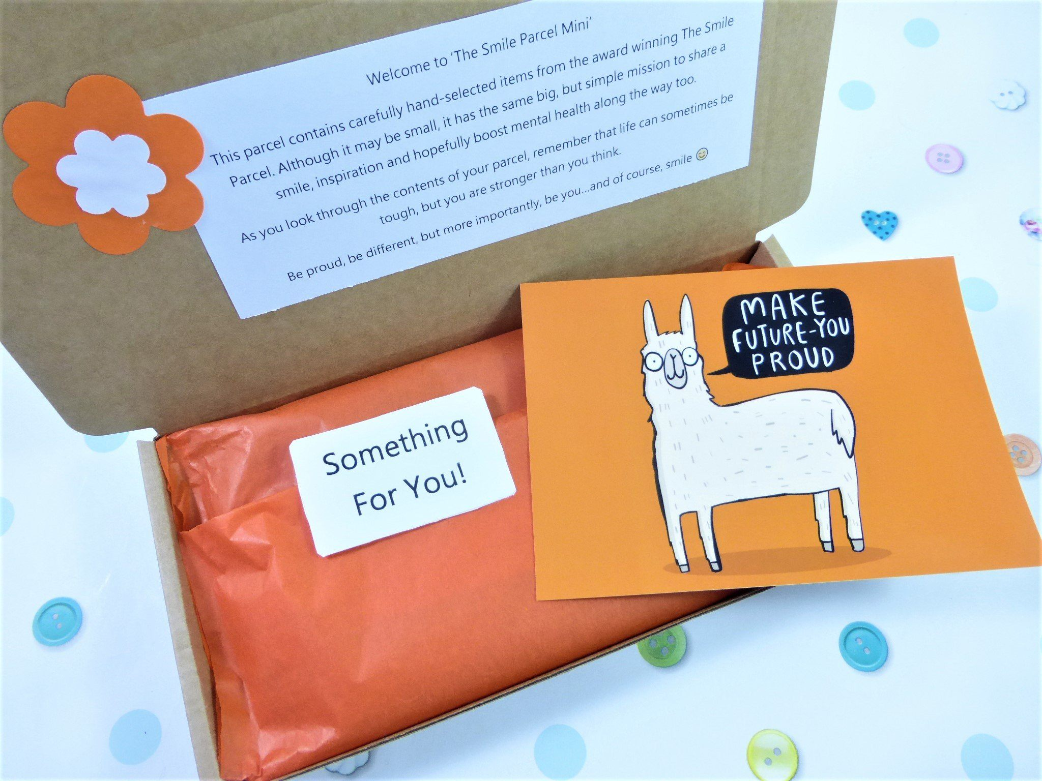 Orange Letterbox Friendly, Pick Me Up Gift, The Smile Parcel Mini, Self Care Box, Happy Post, Mental Health Gift Kind Shop 2
