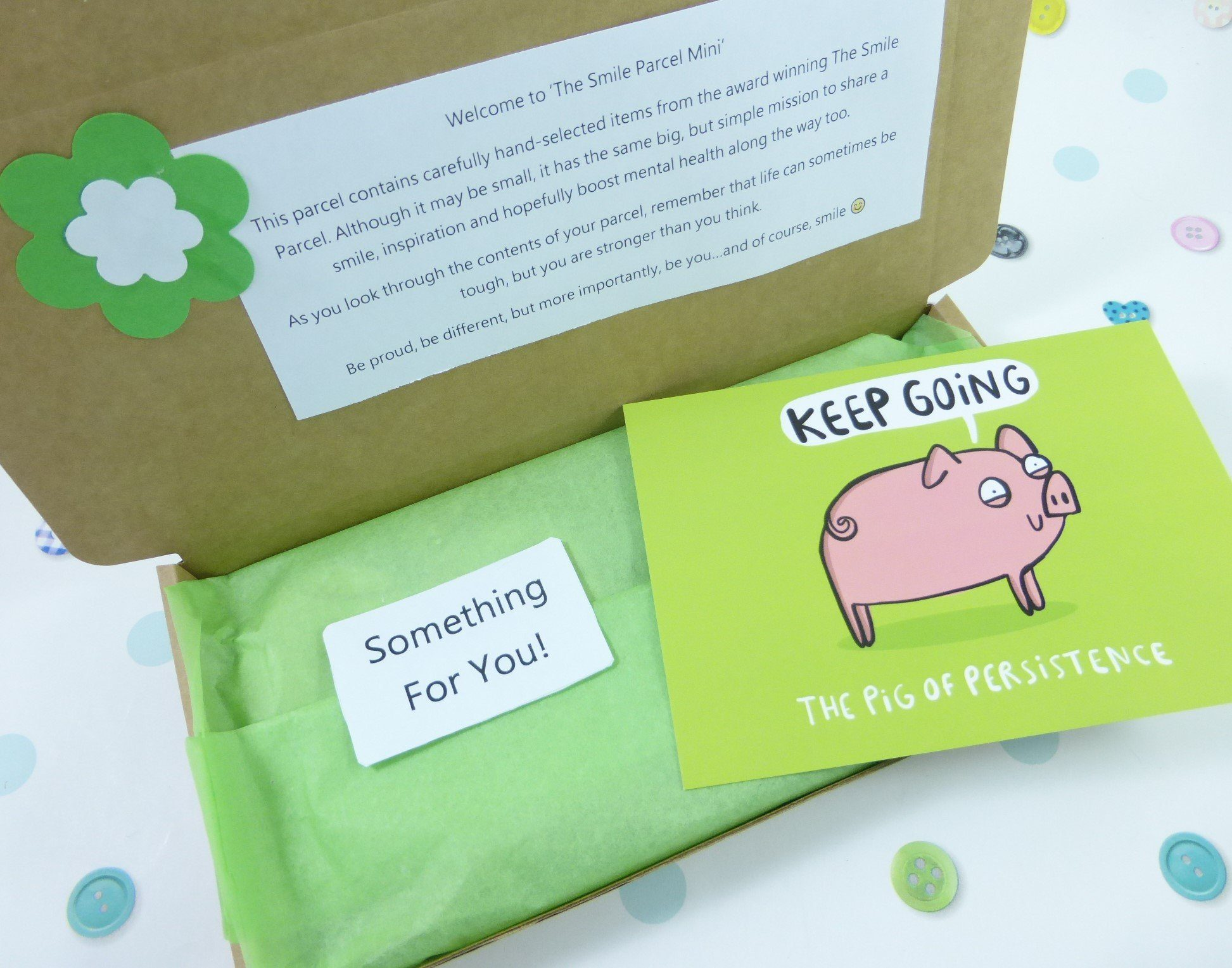 Green Letterbox Friendly, Pick Me Up Gift, The Smile Parcel Mini, Mental Health Gift, Wellbeing Box, Self Care Parcel, Happy Post Kind Shop 2
