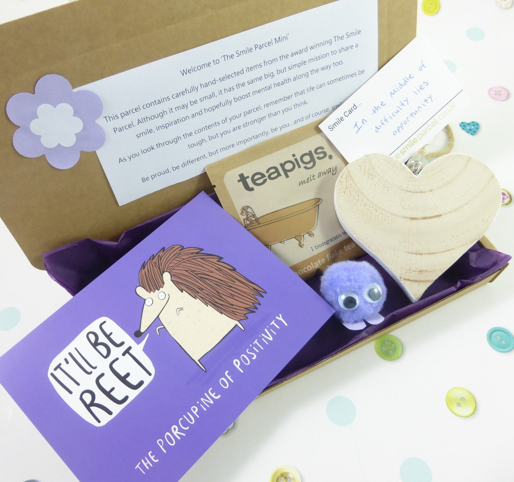 Purple Letterbox Friendly, Pick Me Up Gift, The Smile Parcel Mini, Happy Mail, Mental Health Box, Self Care Gift Box Kind Shop